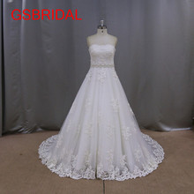 Newest Design Romantic Bridal Gown Elegant A Line Court Train Lace Appliques Crystal Belt Vintage Wedding Dresses 2017 Tulle(China)