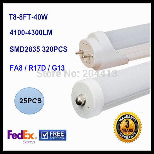 Replacement 80w fluorescent lighting FA8 single pin LED tube light lamp SMD 2835 LED fluorescent tube T8 2400mm 2.4M 8ft 40W<br><br>Aliexpress