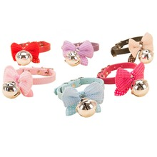 Pet Dog Knitwear Bowknot Lead Adjustable Leather PU Cat Kitten Collars with Bell Necklace Pup Dog Collars Bow Tie