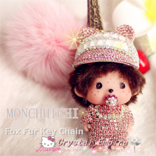 2017 Monchichi Baseball Cup Hat Crystal Kiki 18K Gold Plated Rabbit Fur Car Keychain Key Ring Pendant Auto Interior Accesories