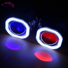 Car Styling Automobiles Full Metal HID 2.5 Bixenon Lens Projector Headlights With COB LED Square Angel Eyes DRL Devil Demon Eyes