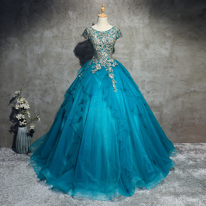 Blue Quinceanera Dress Sweet 16 Beaded Gown