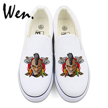Wen Design Canvas Slip on Shoes for Men Women Christmas Gifts Indians Element Low Sneakers Strapless(China)