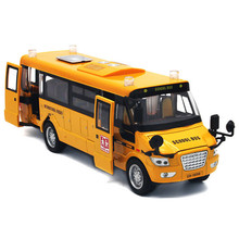 1:32 Scale Bus Model School Bus Miniature Car Educational Toys for Children,Fashion Bus with Music and Lights Functions(China)