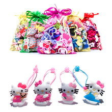 1Pair/Lot Lovely Hello Kitty Baby Girls' Elastic Hair Band Rubber Headbands Soft Fabric Headwear Children Hair Accessories(China)