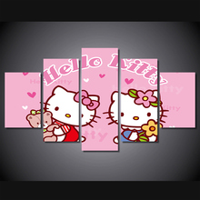 HD Printed cartoon animals  Hello Kitty Painting wall art Canvas Print room decor print poster picture canvas/ny-181
