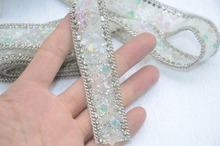 Newest!Wedding crystal rhinestone banding,2pcs/lot,fancy bridal dress decorative trim,wedding cake decorative chain