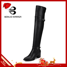 BONJOMARISA 패션 가 women's Knight) Boots 넘 니 허벅지 (High) 저 (부츠 Women 2019 새 (High) 저 (힐 Shoes Woman Plus size 32-48(China)