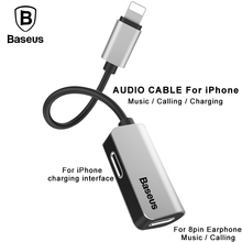 Baseus 3 in 1 Audio Cable Adapter For iPhone 7 7s Plus 8Pin Earphone Charging Splitter Cable Adapter For iPhone 7 7s Aux Cable