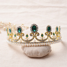 YXPH French royal royal crown with the noble fashion Baroque retro princess crown headdress rhinestone pearl bridal crownWHG053