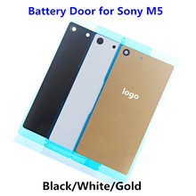 1PCS NEW Back Glass Cover for Sony Xperia M5 E5603 E5606 Rear Housing Battery Door Case Replacement Part