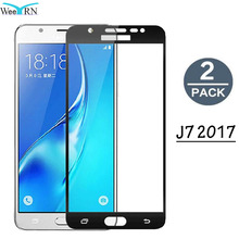 2 Pack 2.5D Full Coverage Protective Glass Film Samsung Galaxy J7 2017 Tempered Glass Screen Protector Galaxy J7 2017