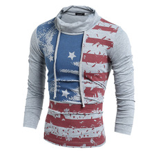 Mens High Neck T Shirt Top Casual Long Sleeve T-Shirts USA Flag Print Men Slim Fit Tee Mans L - Luckbuy361 Store store