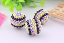 Kwoi vita Yellow Purple Black Strips 20mm 100pcs Chunky Resin Rhinestone Beads Ball Orange for Kids Girls Jewelry Making(China)