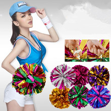 1pcs/lot 50g Cheerleading Pom Cheerleaders Hand Flowers with Plastic hand stick Large Size Party Festival Performance Supplies(China)