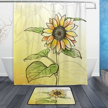 Sketch Sunflower With Leaves Waterproof Polyester Fabric Shower Curtain Hooks Doormat Bath Floor Mat Bathroom