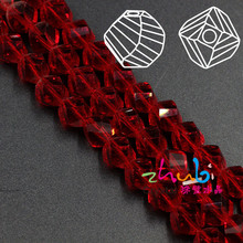 6MM (100Pcs/Lot) Top Quality Faceted Crystal Helix Crystal Glass Twist Beads Murano Red Glass Beads Perline Fai da Te