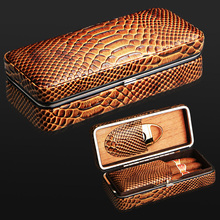 Portable Travel Use Crocodile Striae Stainless Steel Silver Plated Frame Wooden Lining Leather Cigar Humidor W/ Cigar Cutter