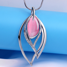 Hesiod High Quality Natural Rose/Blue Stone Choker Crystal Pendants Necklaces Long Sweater Chain Water Drop Silver Color Jewelry(China)