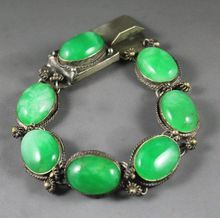 Chinese natural green jade bracelet with beautiful jade beads bangle(China)