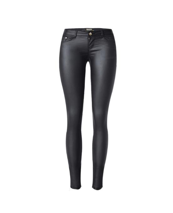 2019 Womens Sexy Low Waist Slim Elastic Faux Leather Pants Female Skinny Stretchy Black Pu Leather Pencil Pants Trousers D65
