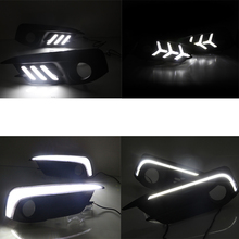 Car Flashing LED DRL Daytime Running Lights For Honda Civic 10th 2016 2017 Turning Signal Yellow Accessories with Fog Lamp hole