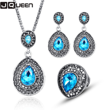Free Ship Blue Crystal Jewelry Sets Water Drop Cubic Zirconia CZ Stone Silver Color Earrings Necklaces Finger Rings ly06(China)