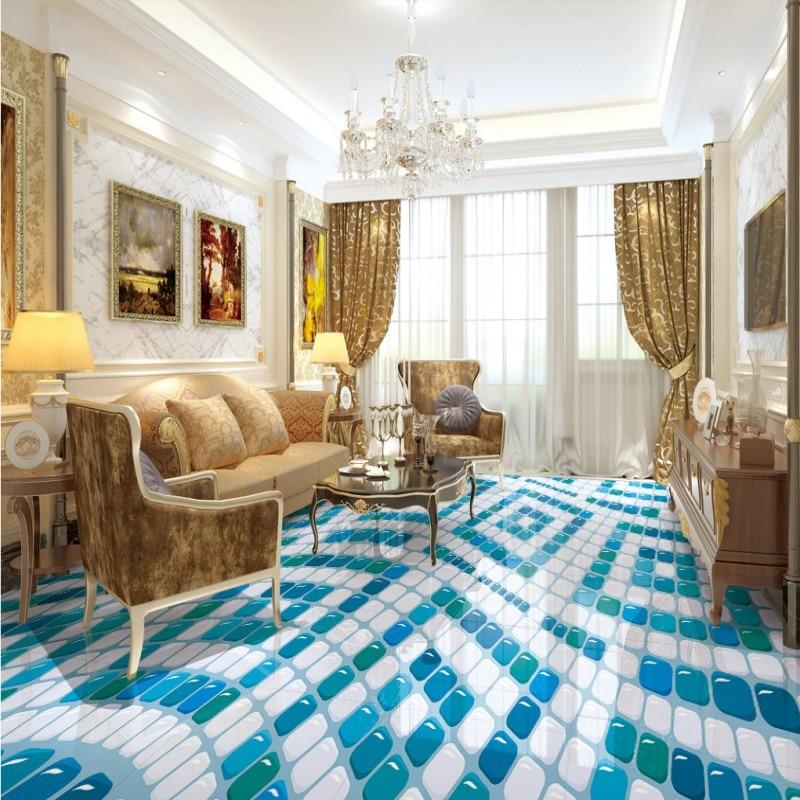 Free Shipping Geometric arrangement smallpox flooring wallpaper mural self-adhesive living room 3D home decoration bathroom<br>