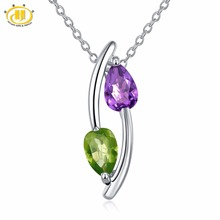 Buy Hutang Real Gemstone Pendant Amethyst Peridot Solid 925 Sterling Silver Fine Jewelry Fashion Style Women's 2017 New for $17.99 in AliExpress store