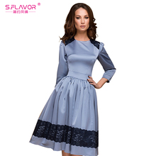 S.FLAVOR Women Spring Vestidos Hot Sale O-neck three quarter sleeve lace patchwork A-line dress for female Women casual dress(China)