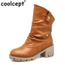 Coolcept High Heels Women Boots Med-Calf Thick Heels Plush Fur Warm Winter Round Toe British Style Women Botas Sapatos Size33-43(China)