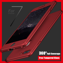 FLOVEME 360 Degree Full Coverage Case For iPhone 6 6S 7 Plus 5 5S SE Cover Tempered Glass Cover For iPhone 6 7 Plus 5 Armor Case