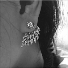 Women's Angel Wings Rhinestone Inlaid Alloy Ear Studs Party Jewelry Earrings e065