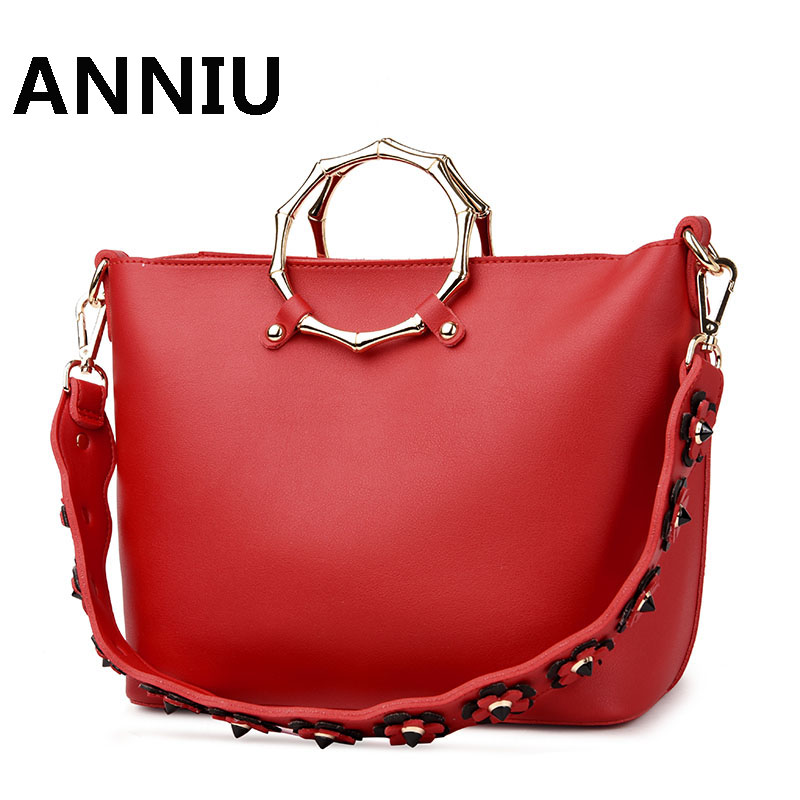 ANNIU 2017 New Fashion Women Metal bracelet bag famous brand high quality leather shoulder bag color casual Tote <br>
