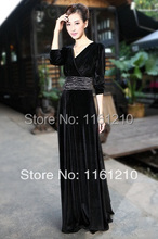 Black Velvet Party Formal Maxi Dress Gown Plus sizes Dinner/Graduation/Birthday Party wedding guest dress(China)
