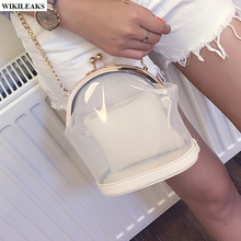 women shell messenger clear jelly purses and handbags transparent gold chain satchel bags bolsos de pvc shoulder candy tote bag