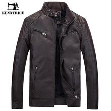 KENNTRICE Leather Jacket Men Motorcycle Vintage Warm Faux Leather Coats PU Jacket For Men Winter Jaquetas de motocicleta(China)