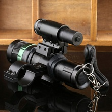 Outdoor Hunting Adjustable Zoom CREE LED Long Range Metal Flashlight Torch & Tactical Red Laser Sight Dual Ring Scope Mount