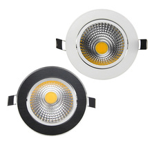 High Brightness Dimmable LED Downlight COB 5W 7W 9W 12W Black/White Ceiling Recessed Lamps  AC220V Recessed Downlight Fixtures