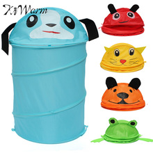 Foldable 5 Styles Cute Cartoon Folding Laundry Cylinder Pop Up Household Storage Bin Hamper Tidy Basket Kid Toy Sundries Box Bag
