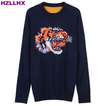HZLLHX woman fall autumn winter sweaters navy tiger pattern jacquard long eleeve knit pullovers ladies  jumper sweater women