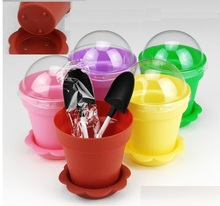 50pcs 180ml Potted cake cup with lid + shovel + cup cupcake cake ice cream  food packaging plastic box with lid wedding party