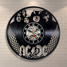 Free Shipping 1Piece European Retro Style ACDC Theme Wall Clock Vinyl Record Clock Unique Black Vinyl CD Clock Living Room Decor