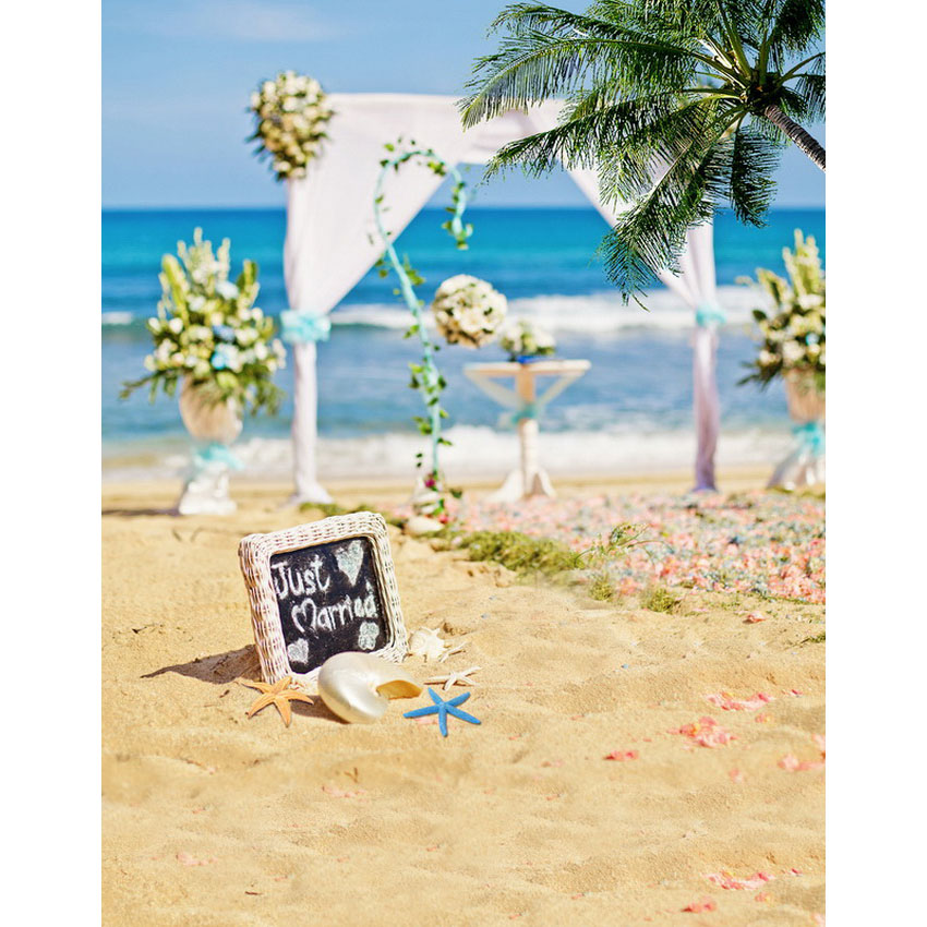 Sea beach flowers decorated wedding photo background droplights photography backdrops for photo studio photographic backgrounds<br>