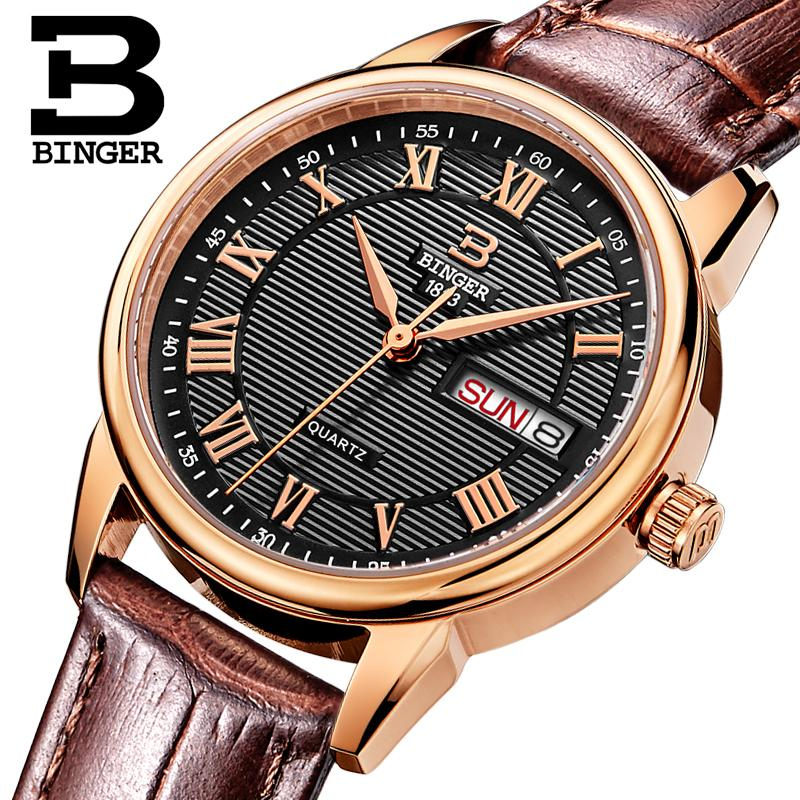 Switzerland Binger Womens watches fashion luxury watch ultrathin quartz Auto Date leather strap Wristwatches B3037G-13<br>