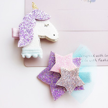 10pc/lot Cartoon Animal Hair Clip Glitter Synthetic Leather Unicorn Hairpin Animation Horse Hair Barrette Sparkly Star Grips