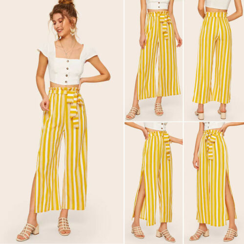 Women Palazzo High Waist Wide Leg Lady Summer Striped Harem Casual Loose Long Split Hip Hop Trousers Pants