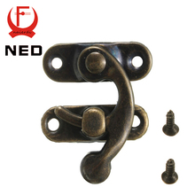 NED High Quality Small Antique Metal Lock Catch Curved Buckle Gold Horn Lock Clasp Hook Gift Jewelry Box Padlock With Screws