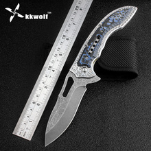 KKWOLF Tactical Folding Knife engraving Stone wash Blade Portable Camping Survival Pocket Knives Hunting Tactical Knife EDC Tool