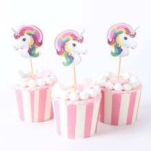 24pcs/lot Color Unicorn Cupcake Topper Wedding 1St Birthday Party Supplies Baby Shower Cake Decoration(China)